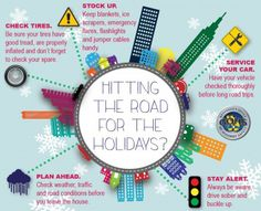 Holiday travel safety tips! Be advised the roads will be busy...