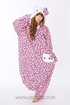 Pink Hello Kitty Leopard Print Adult Onesie Pajama