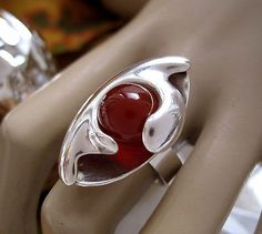 Elis Kauppi for Kupittaan Kulta, ~Modernist silver and carnelian (carneol) ring, 1960's.   eBay.com