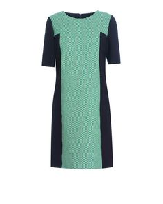 100% cotton tweed shift dress from Jaeger London with contrast panels. This heritage-inspired design has elbow length sleeves, concealed back zip fastening and falls to the knee. Contrast navy panels on the side, sleeves, and to the back of the dress give it a structured and contemporary feel. A smart option for day, this style is the perfect way to trial the summer tweed trend   Jaeger London