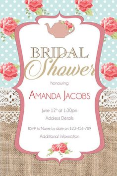 burlap rose bridal shower digital printable invitation template