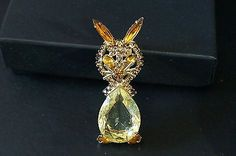 "Vintage Amber Citrine Juliana Rhinestone Rabbit Cat Brooch Pin 2"" Rare in Jewelry & Watches, Vintage & Antique Jewelry, Costume, Retro, Vintage 1930s-1980s, Pins, Brooches 