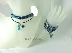 Collier/Bracelet, Multirangs Zen, Bracelet/Collier, Satin Tressé et Cuir, Zen Chic, Bijoux Zen Boutik : Collier par zenboutik