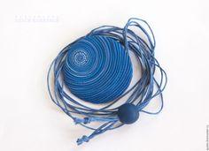 Купить Кулон Глаз Хамелеона круглый синий из полимерной глины - синий кулон, кулон синий