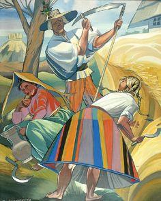 Zofia STRYJEŃSKA (1894 - 1967)  Żniwa gwasz, papier, 72 x 58 cm; sygn. l. d.: Z. STRYJEŃSKA Bright Art, Great Paintings, Folklore, Rainbow Colors, All The Colors, Poland, Art Nouveau, Modern Art, Colours