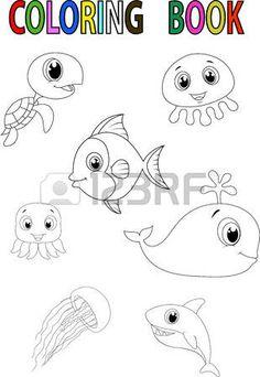 Książka kreskówka kolorystyka ryb photo
