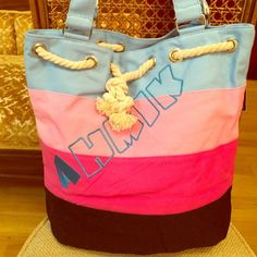 "Tote bag canvas roomy pink blue black Ahmik Cute canvas tote can go to the grocery store, beach, or carry you through the weekend. Inner zip and side pockets. 15x14x6""  Bags Totes"