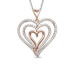 Zales: 1/4 CT. T.W. Diamond Layered Heart Pendant in Rose Sterling Silver