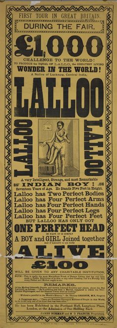 Victorian era handbill for Lalloo the happy hindu and his parasitic twin. (1887)