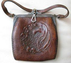 Antique Art Nouveau Deco Bird Of Paradise Suede Hand Tool Leather JEMCO 1921 #EveningBag