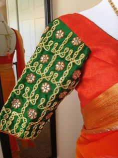 55 Latest Maggam Work Blouse Designs that will inspire you - Wedandbeyond Best Blouse Designs, Bridal Blouse Designs, Mirror Work Saree Blouse, Latest Maggam Work Blouses, Kutch Work Designs, Hand Work Blouse Design, Kolam Designs, Hand Embroidery Designs, Sarees