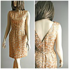 1960's gold brocade sleeveless short dress by ButtonsandFrills