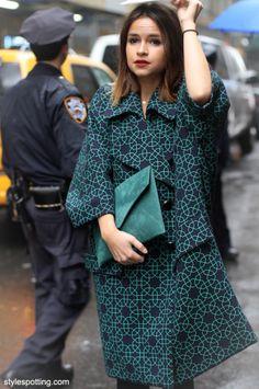 Miroslava Duma, NYFW street style, textured coat and green clutch.
