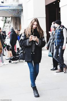 Fall Winter 2015 | Street Style London Fashion Week - Collage Vintage Snow Cardigan Dr Martens