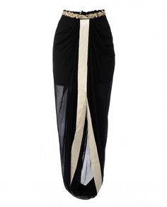 Black Embroidered Draped Dhoti Skirt