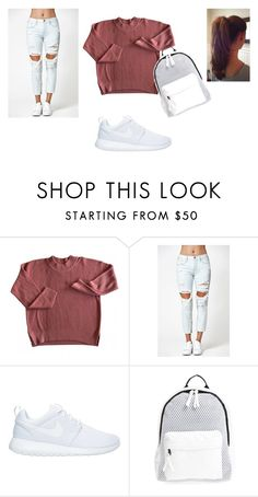 """back to school outfit"" by missdevilxx ❤ liked on Polyvore featuring Kendall + Kylie, NIKE and Poverty Flats"