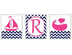 Nautical Nursery Art   Navy Blue Hot Pink by RizzleandRugee, $42.00