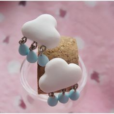 Valentine Gift One Pairs Handmade Cute Rain Clouds - Hot Popular Earrings Studs Cute Earrings, Dangle Earrings, Clay Jewelry, Jewellery, Cute Gift Boxes, Polymer Clay Earrings, Fashion Earrings, Valentine Gifts, Sterling Silver Earrings