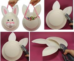 This is probably one of the most simple DIY Easter baskets made out of 2 or 3 paper plates and some added decoration to make a bunny out it. Also a great instruction to craft other animals like chicks, hens or whatever your kids like.