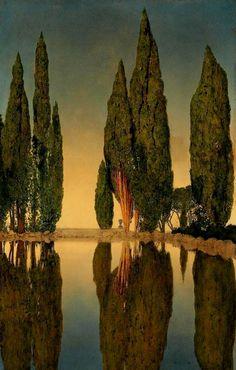 Reservoir at Villa Falconieri, Frascati, by Maxfield Parrish, 1903