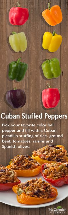 Choose your favorite bell peppers to create these Cuban stuffed peppers -- The perfect main dish for entertaining.