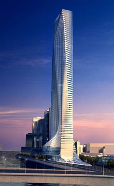 Africa's Tallest Skyscraper by Zaha Hadid Will Finally Rise in Egypt, Nile Tower. Image Courtesy of Zaha Hadid Architects Future Buildings, Unique Buildings, Amazing Buildings, Arquitetos Zaha Hadid, Zaha Hadid Architektur, Unique Architecture, Futuristic Architecture, Landscape Architecture, Tower Design