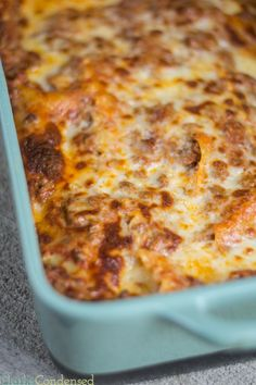 The best and easiest lasagna ever. Full of meat and cheese!