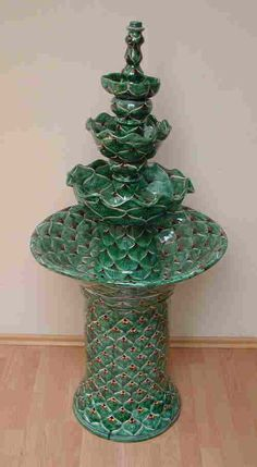Talavera Mexican ceramic fountain - I love this particular green pattern