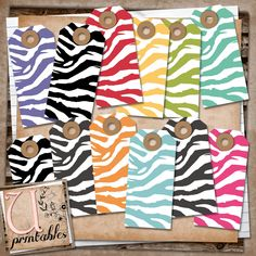 """U printables by RebeccaB: FREE  """"Free Smash Printables""""  Zebra Tags ...you will need to unzip the file using an UNZIP program."""