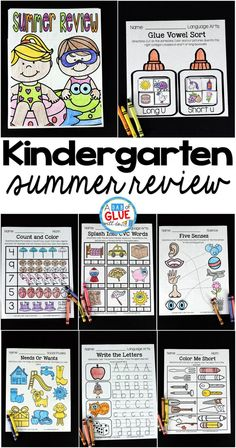 The perfect NO PREP Kindergarten Summer Review packet to help your kindergarten students with hands-on learning over summer break! Give your students going into First Grade fun review printables to help prevent the summer slide and set them up for First Grade success.