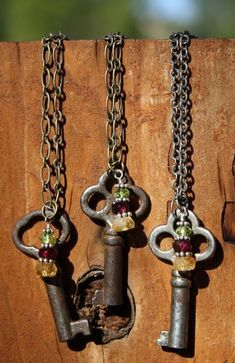 Antique Skeleton Key Necklaces with Gemstone Drops - 3 available
