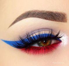 4th of July makeup White Makeup, Red Makeup, Makeup Inspo, Makeup Inspiration, Makeup Usa, Blue Makeup Looks, Makeup For Green Eyes, Halloween Eye Makeup, Holiday Makeup