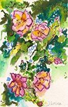 """Oriental Blossoms"" by Celesa Lucien Watercolor ~ 8.5"" x 6"""
