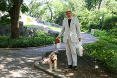 "Humans of New York: ""We can talk until my dog is done pooping. Humans Of New York, Preppy Men, Gentleman Style, Seersucker, Culture, Dogs, Preppy Guys, Dapper Men, Pet Dogs"