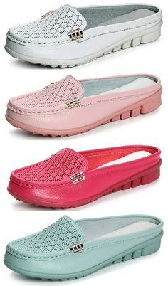 49% OFF! Hollowed Out Slippers Breathable Soft Sole Loafer Flat Shoes. SHOP NOW!