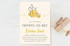 Mommy-to-Bee Baby Shower Invitations by Chryssi Tsoupanarias at minted.com
