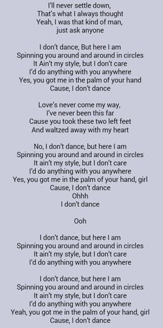 Lee Brice/ I don't dance- First dance song with my husband Country Music Quotes, Country Music Lyrics, Country Songs, First Dance Songs, Love Songs, Lyric Quotes, Funny Quotes, Qoutes, Lee Brice