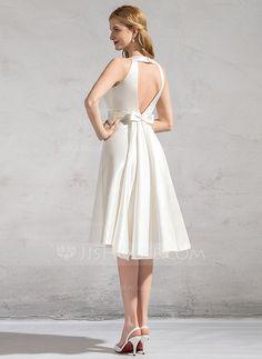 A-Line/Princess Scoop Neck Knee-Length Satin Wedding Dress With Ruffle Bow(s) (002083686)