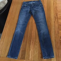"""Roxanne from 7FAM These Size 26 jeans from 7 for All Mankind are Roxanne style - tapered to the ankle.  Inseam is 31"""".  The pockets have some wear - pictured. - that jut prove they are your fave broken in jeans! Love! 7 for all Mankind Jeans Skinny"""