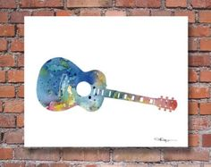 World map acoustic guitar art featuring the quote Music