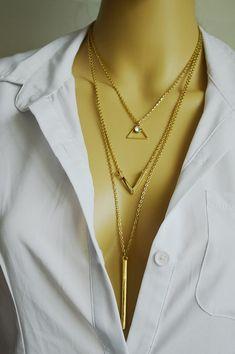 Nueva Sexy Hot cadena de múltiples capas collar triángulo geométrico del collar de tres capas de la cadena collar inicial de la mujer venta en Cadenas de Joyería en AliExpress.com | Alibaba Group