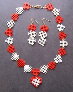 Plastic Canvas Necklace Red Pale Pink and White by gailscrafts