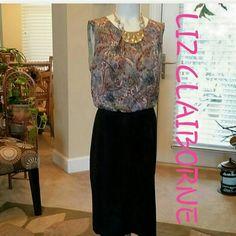NWT LIZ CLAIBORNE PASLEY BLACK DRESS Zipper in back.  Fully lined Liz Claiborne Dresses