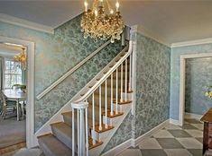 painted wood floors + wallpaper