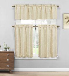 Emboridered Polycotton Kitchen Window Curtain Tier & Valance Set - Beige #DESIGNERLINENS #Contemporary