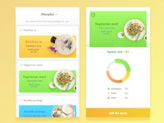 A Healthy Diet designed by Regan Jiang for PP Design. Connect with them on Dribbble; Food Web Design, Design Ios, Ui Design Mobile, Mobile Ui, Flat Ui, Low Calorie Recipes, Vegetarian Recipes, Nutrition, Diet
