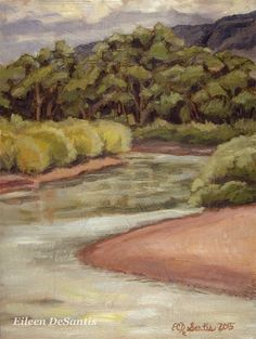Rio Grande River Oil Painting, Southwestern landscape, landscape painting, New Mexico art, Plein air Painting, SFA