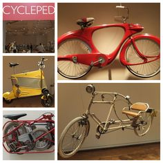 """A couple of the cool and/or crazy bikes on view in """"Cyclepedia,"""" an exhibit at the Portland (Ore) Art Museum, which I toured in July 2013."""