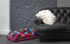MYK Pom Pom cushion coloured/cream