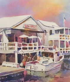 Original Watercolor Painting by EdieFaganArt on Etsy of a harbor restaurant you could drive your boat up to. Lobsters for lunch!